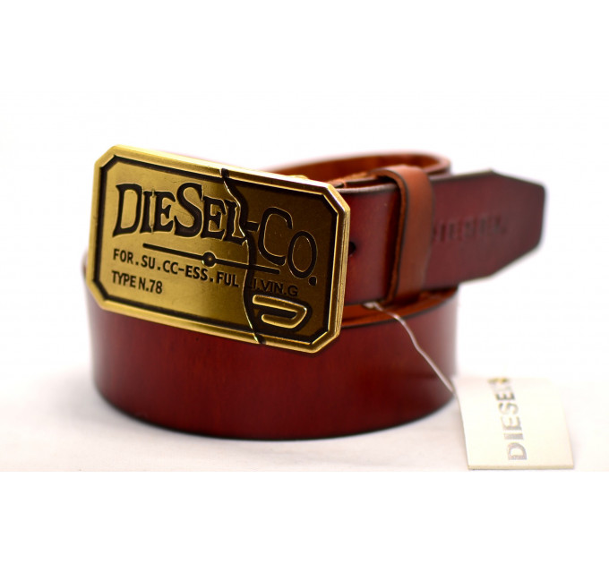 Мужской ремень джинсовый Exclusive DS40-043 коричневый