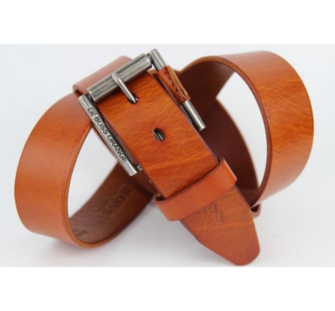 Мужской ремень джинсовый Exclusive hb40-011 коричневый