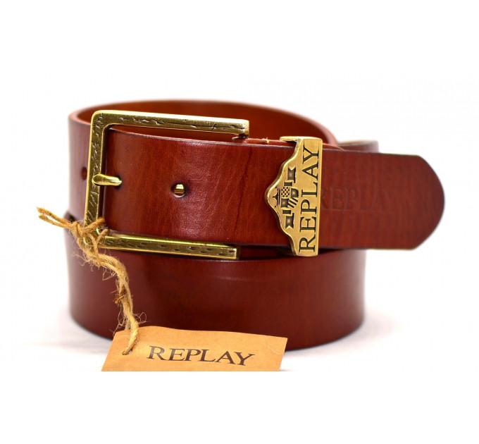 Мужской ремень джинсовый Exclusive rp40-004 коричневый