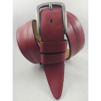Мужской ремень джинсовый BELT PREMIUM C40-099 коньячно-красный