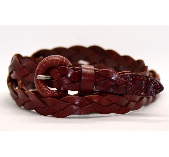 Женский ремень плетеный pl15-012 коричневый