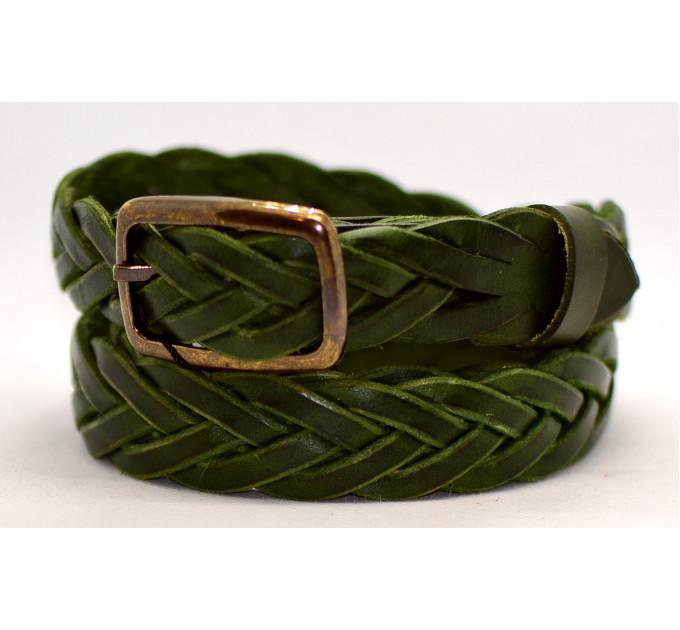 Женский ремень плетеный pl25-002 зеленый